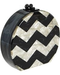 Edie Parker Oscar Round Chevron Acrylic Clutch Bag