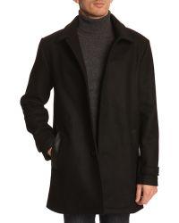 Menlook Label Long Black Wool Coat - Lyst