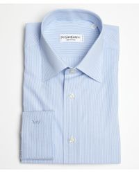 Saint Laurent Blue and White Striped Cotton Point Collar Dress Shirt - Lyst