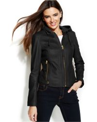 Michael Kors Michael Hooded Leather Jacket - Lyst