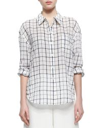 Elizabeth And James Oversize Windowpane-Check Voile Blouse - Lyst