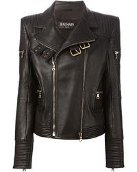 Balmain Black Biker Jacket - Lyst