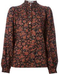 Yves Saint Laurent Vintage Floral Print Collarless Shirt - Lyst