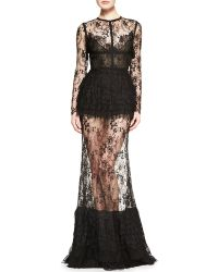 Elie Saab Sheerskirt Lace Longsleeve Gown - Lyst