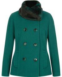 Precis Petite - Double Breated Faux Fur Collar Coat - Lyst
