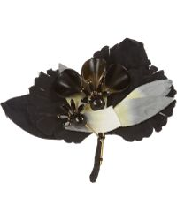 Marni Cotton-twill Crystal and Horn Brooch - Lyst
