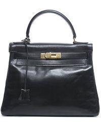 Hermès Pre-Owned Black Box Calf Kelly 28Cm Bag black - Lyst
