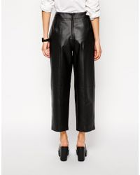 Asos Premium Leather Mansy Pants - Lyst