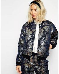 Asos Black Holographic Floral Print Jacket - Lyst