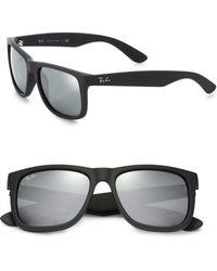 Ray-Ban Boyfriend 55Mm Mirrored Wayfarer Sunglasses gray - Lyst