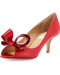 Valentino Patent Bow Low-Heel Pump - Lyst