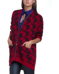 Patrizia Pepe Mohair-Blend Printed Cardigan With Long Sleeves - Lyst