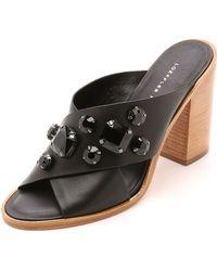Loeffler Randall Etta Jeweled Mules - Black/Black - Lyst