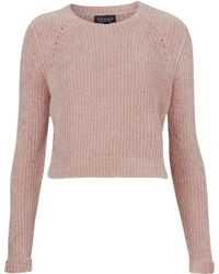 Topshop Chenille Crop Sweater  - Lyst