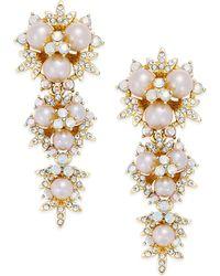 ABS By Allen Schwartz Gold-tone Imitation Pearl Cluster Linear Drop Earrings - Metallic