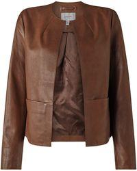 Jigsaw Leather Edge To Edge Jacket - Brown