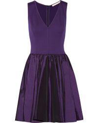 Halston Heritage Stretch-jersey and Taffeta Dress - Lyst