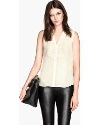 H&M Frilled Silk Blouse - Lyst