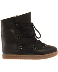 Isabel Marant Nowles Leather Wedge Snow Boots - Lyst
