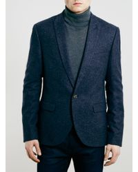 Topman Navy Textured Skinny Fit Blazer - Lyst