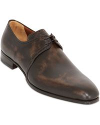 A.testoni Antique Leather Derby Lace-Up Shoes brown - Lyst