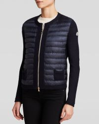 Moncler  Maglia Down Zip Front Cardigan  - Lyst
