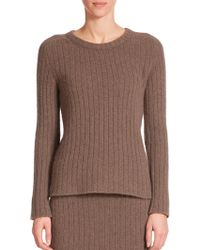 The Row Milo Ribbed Cashmere Sweater brown - Lyst