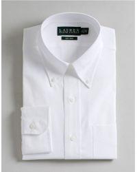 Lauren by Ralph Lauren Regular Fit Non-Iron White Pin-Point Dress Shirt - Lyst