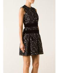 Alexander McQueen Black and White Ivy Pattern Dress - Lyst