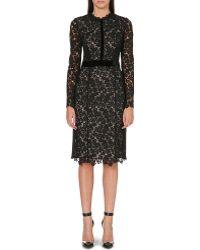 Erdem Fitted Lace Midi Dress Black - Lyst