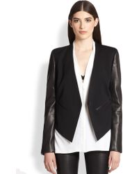 Helmut Lang Leather-Sleeved Stretch Wool Blazer - Lyst
