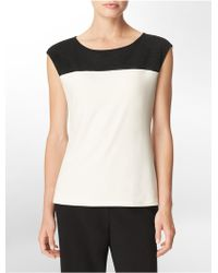 Calvin Klein White Label Faux Leather Mesh Detail Short Sleeve Top - Lyst