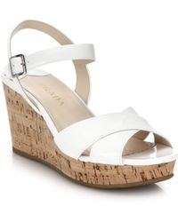Prada Cork-Wedge Patent Leather Sandals white - Lyst