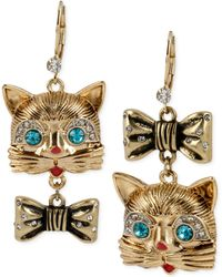Betsey Johnson Gold-tone Cat and Bow Mismatch Earrings - Lyst