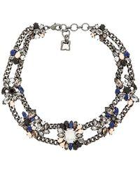 BCBGMAXAZRIA Multi-Color Stone Cluster Necklace - Blue