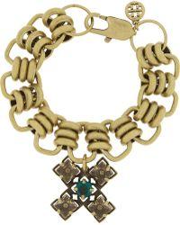 Tory Burch Abella Goldtone Crystal Cross Bracelet - Lyst