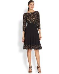 Tadashi Shoji Silk Lace-Trimmed Dress - Lyst