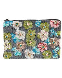 Natasha Couture Beaded Floral Clutch - Lyst