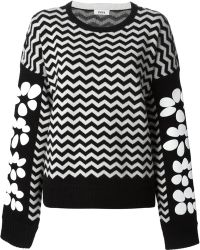 Issa Chevron and Floral Patterned Sweater - Lyst