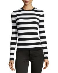 Michael Kors Long-Sleeve Striped Top - Lyst