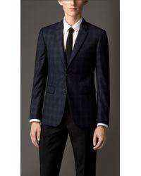 Burberry Slim Fit Virgin Wool Check Jacket - Lyst