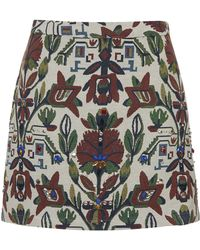 Topshop Womens Botanical Embroidered Aline Skirt  Cream - Lyst