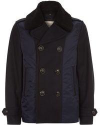 Burberry Brit - Wool And Nylon Pea Coat - Lyst