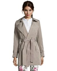 T Tahari Mink Woven 'Freesia' Belted Packable Trench Coat - Lyst