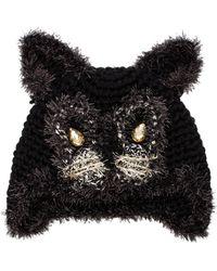 Anna Sui - Jeweled Cat Hat in Black - Lyst