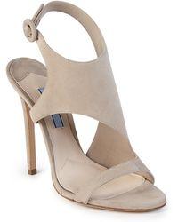 Prada | Asymmetrical Suede Sandals | Lyst