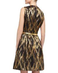 Michael Kors Metallic Ikat Jacquard Fitandflare Dress - Lyst