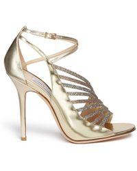 Jimmy Choo 'Fabris' Glitter Lamé Trim Mirror Leather Sandals - Lyst