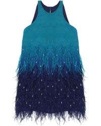 Nicole Miller Jessi Ombre Feathers Dress - Lyst