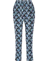 Emilio Pucci Printed Silk Crepe De Chine Tapered Pants - Lyst
